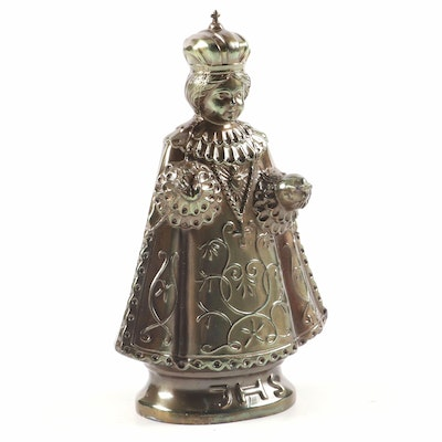 German Infant Jesus of Prague Bronze Tone Metal Figurine