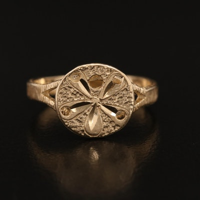 14K Sand Dollar Ring