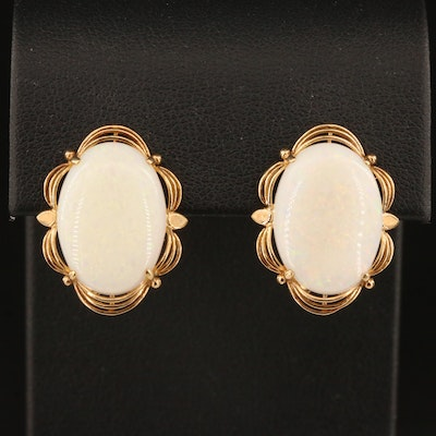 14K Opal Oval Button Earrings