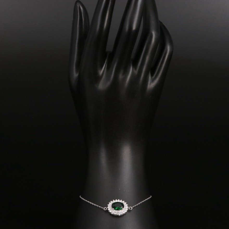 Sterling Silver Cubic Zirconia and Glass Bracelet