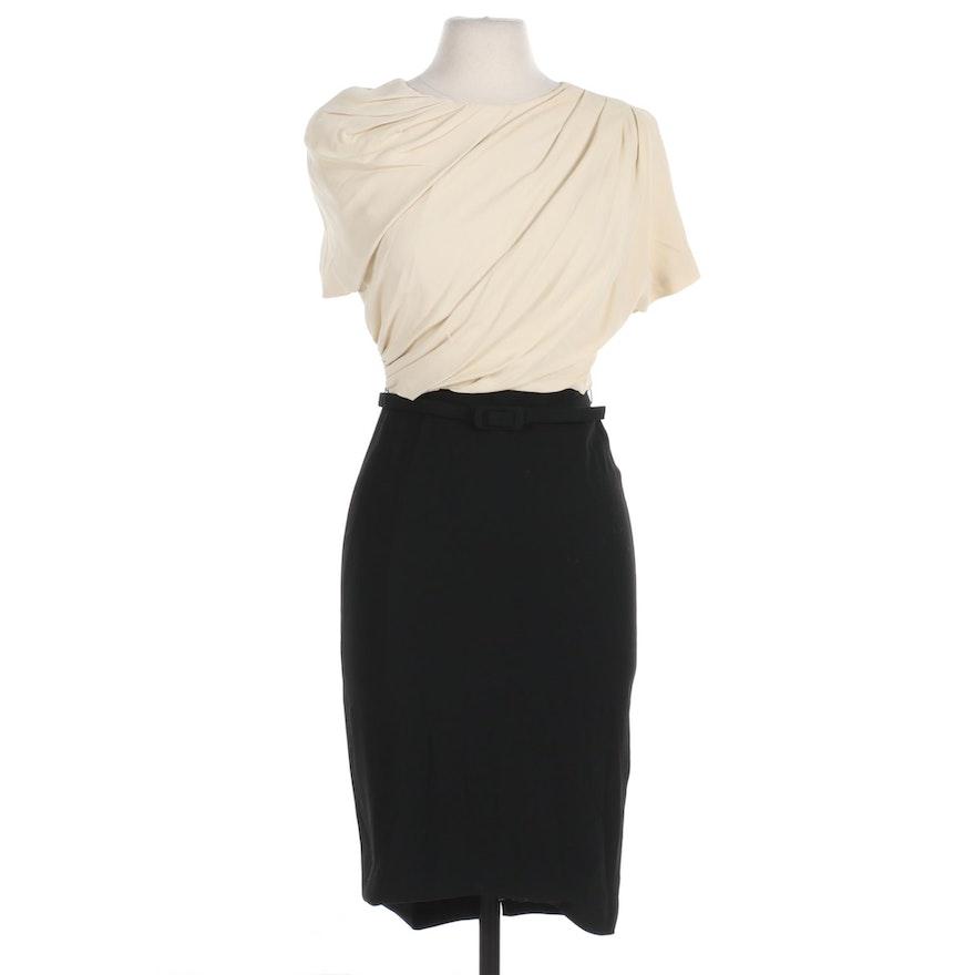 Max Mara Bicolor Silk Pianoforte Dress