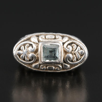 Sterling Topaz Scrollwork Bar Ring