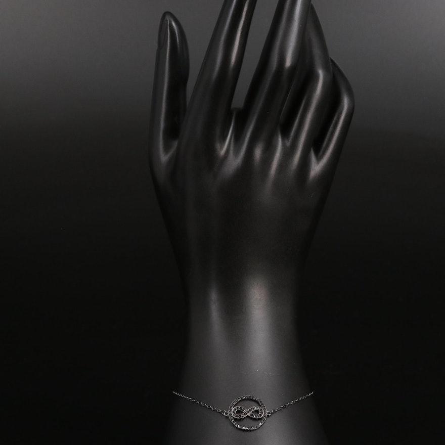 Sterling Silver Spinel Infinity Bracelet