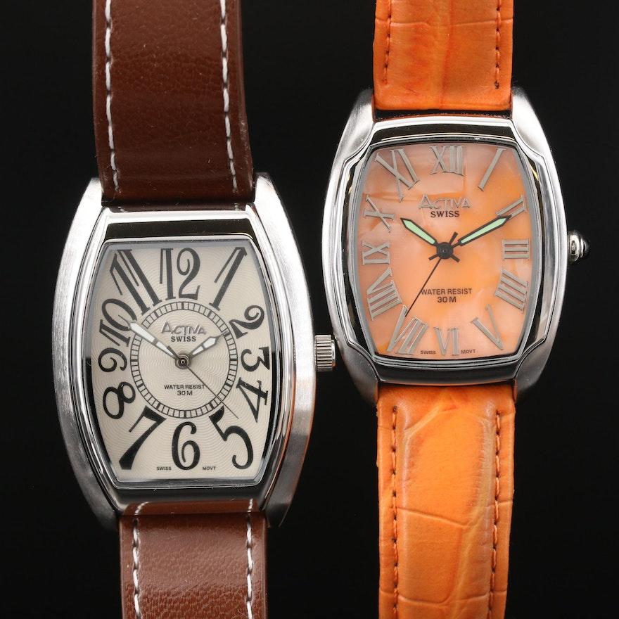 Pair of Activa Tourneau Quartz Wristwatches