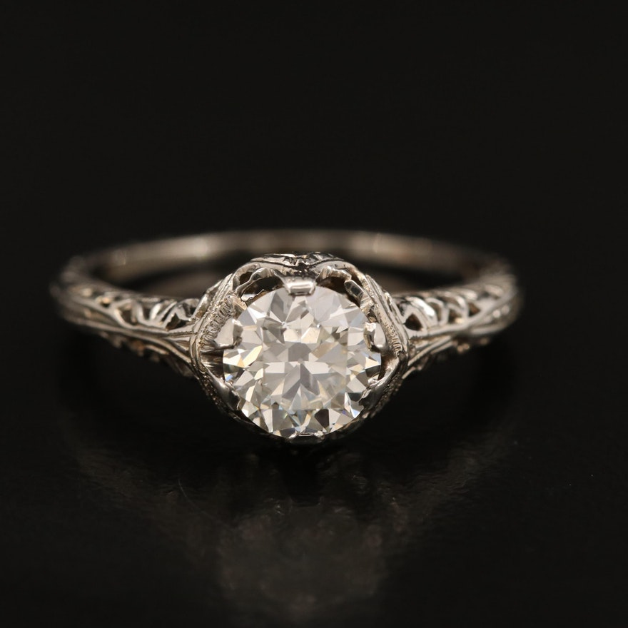 Vintage 18K 0.97 CT Diamond Solitaire Ring