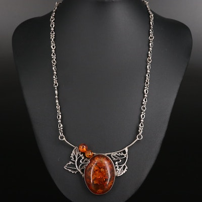 Sterling Silver Amber Stationary Pendant Necklace