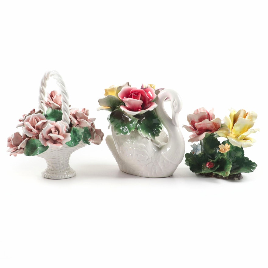 Capodimonte and Other Italian Ceramic Flowers, Mid-20th C.