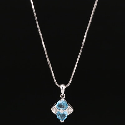 14K Topaz and Diamond Heart Pendant Necklace
