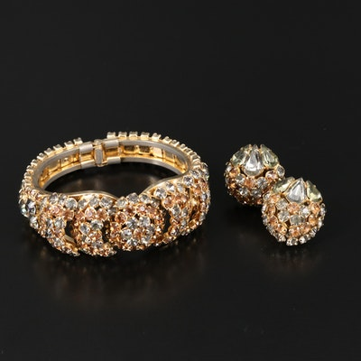 Vintage Warner Rhinestone Bracelet and Earring Set