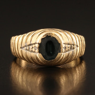 14K Scalloped Sapphire Ring with Diamond Accents