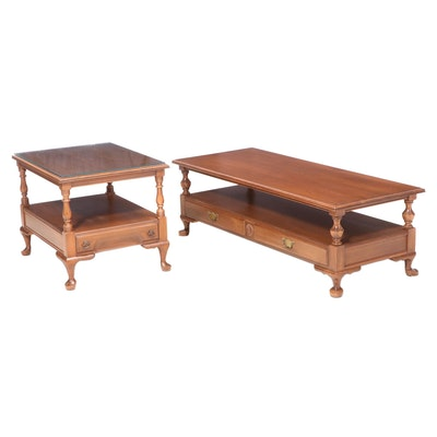 Pennsylvania House Queen Anne Style Cherrywood Coffee Table and Side Table