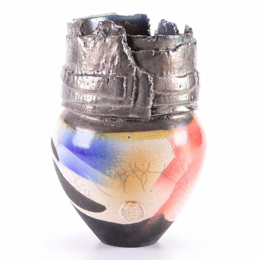 East Asian Handcrafted Sculptural Raku Fired Vase