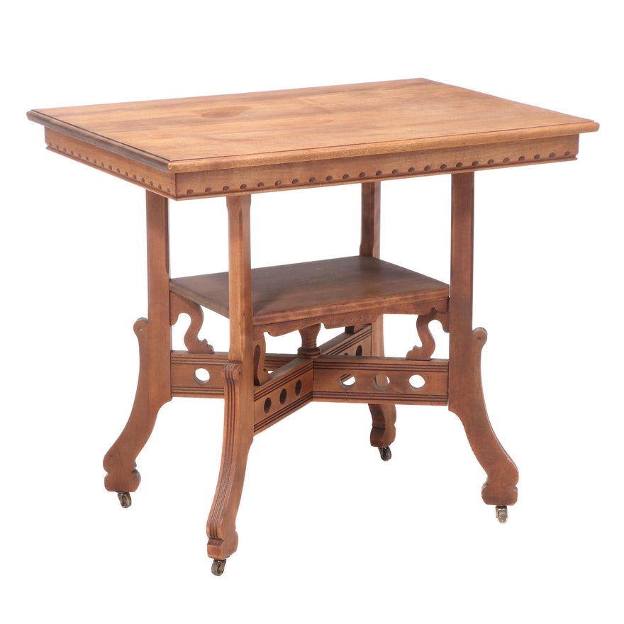 Victorian Birch Two-Tier Side Table, Late 19th Century