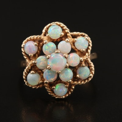14K Opal Openwork Cluster Ring
