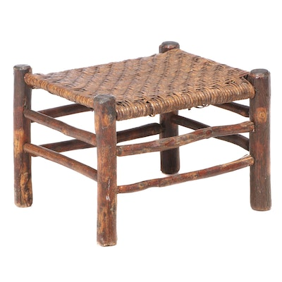 Rustic Twig and Splint-Woven Footstool, 20th Century