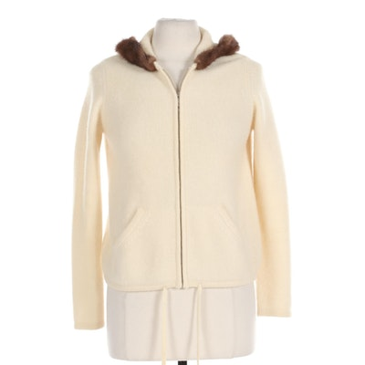 Saks Fifth Avenue Cashmere Collection Full-Zip Hoodie with Mink Trim