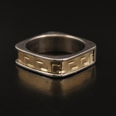 Sterling Square Shank Greek Key Band with 18K Accents