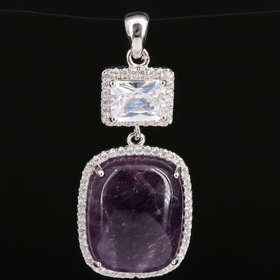 Sterling Silver Amethyst and Cubic Zirconia Pendant