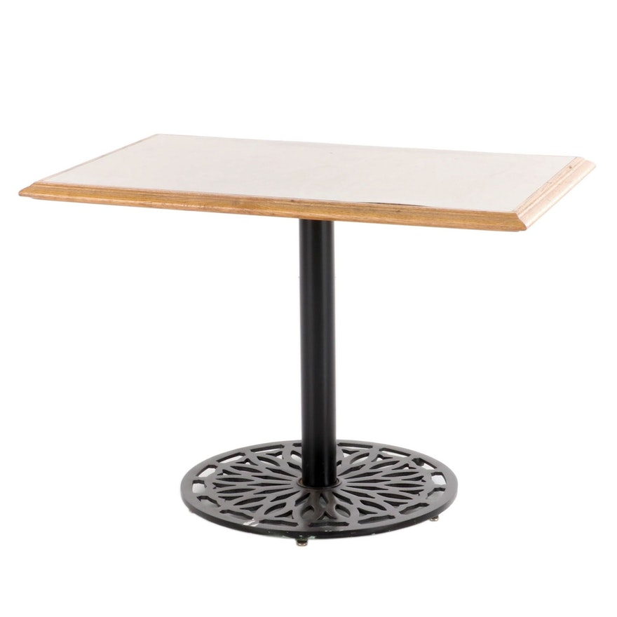 Oak Frame Table with Laminate Inset and Iron Base, Late 20th Century