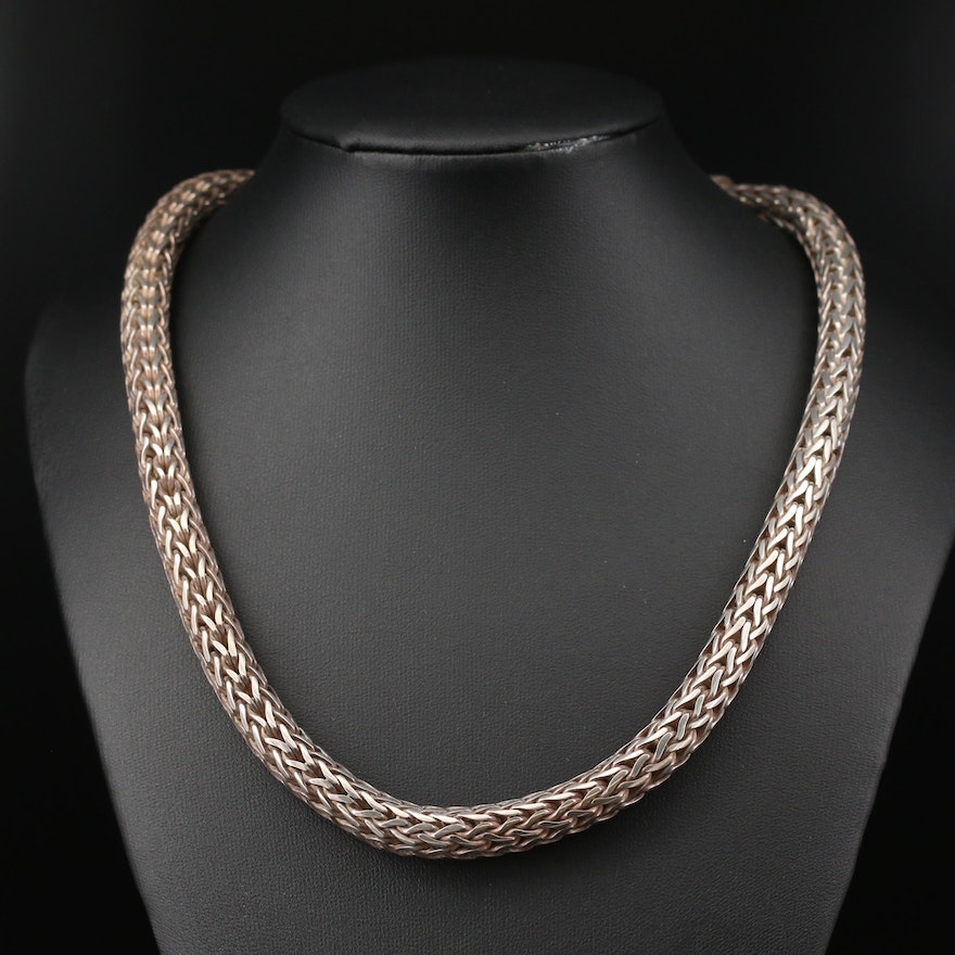 Sterling Silver Balinese Style Wheat Chain Link Necklace