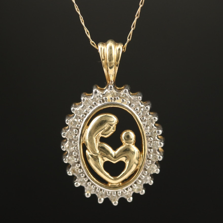 10K Diamond Halo Mother and Child Necklace