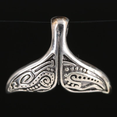 Sterling Silver Whale Tail Pendant