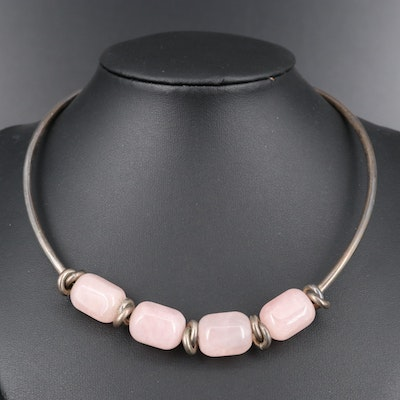 Sterling Silver Rose Quartz Beaded Knot Choker Necklace