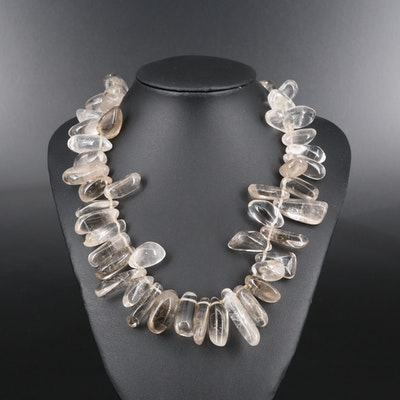 Sterling Silver Rock Crystal Quartz Necklace