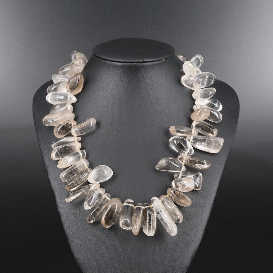 Sterling Silver Rock Crystal Quartz Necklace