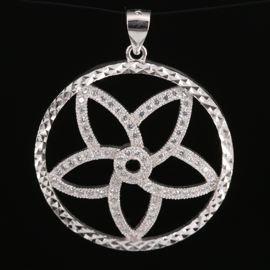 Sterling Silver Flower Circle Pendant