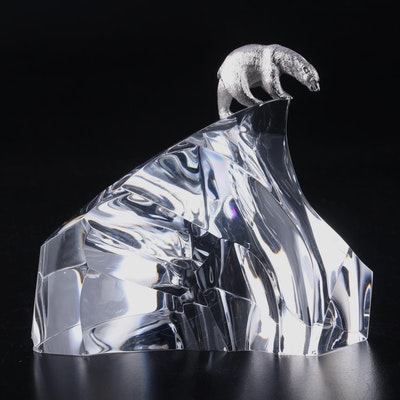"Steuben ""Ice Bear"" Crystal and Metal Figurine Designed by James Houston"