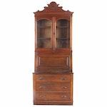 Victorian Oak Secretary Bookcase, Mid to Late 19th Century