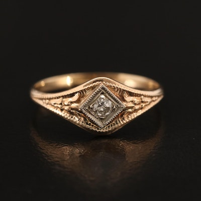 10K Diamond Ring with Detailed Shoulders
