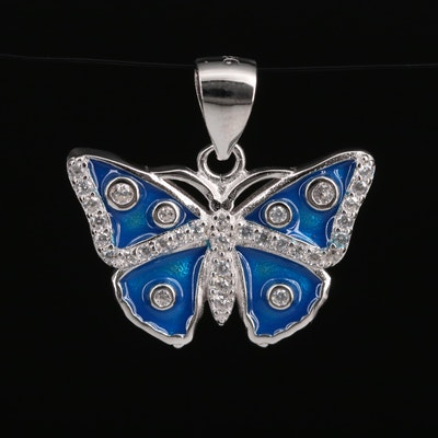 Sterling Silver Enamel and Cubic Zirconia Butterfly Pendant