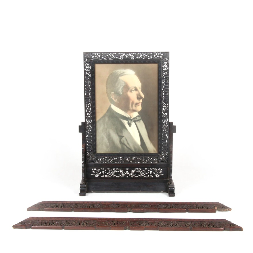 East Asian Style Carved Wood Picture Frame and Parts