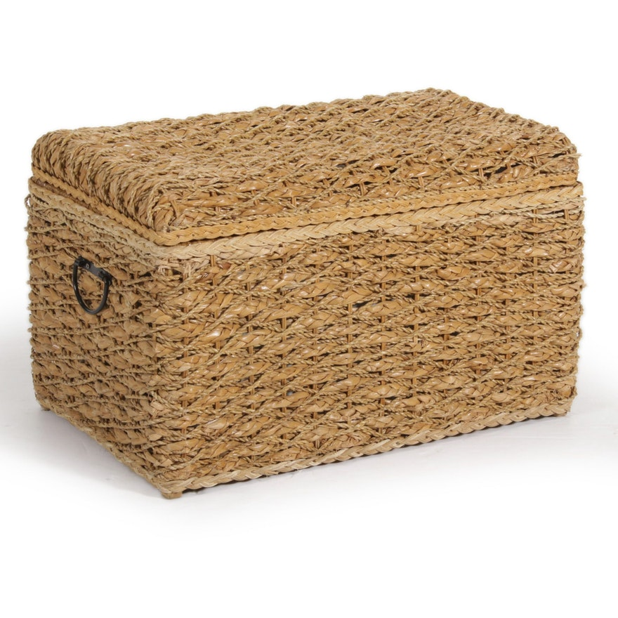 Wicker Cloth-Lined Chest with Metal Handles
