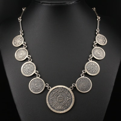 Mexican Sterling Silver Mayan Calendar Motif Fringe Necklace