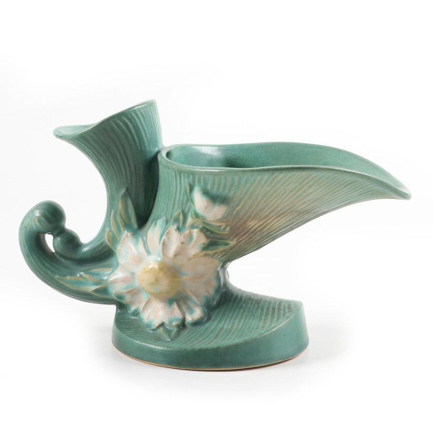 "Roseville Pottery Green ""Peony"" Double Cornucopia Vase, Mid-20th Century"