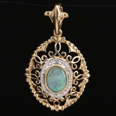 10K Opal and Diamond Openwork Pendant