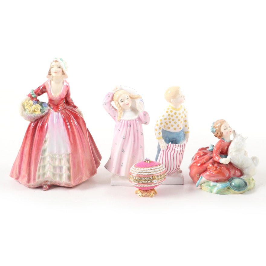 Royal Doulton Porcelain Figurines with Embellished Egg Box