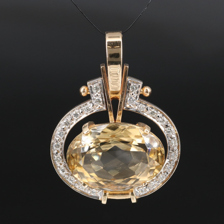 14K 39.00 CT Citrine and Diamond Enhancer Pendant