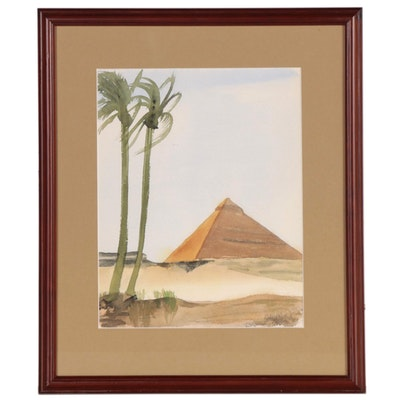 Robert North, Jr. Watercolor Painting of an Egyptian Pyramid, 1949