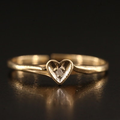 14K 0.01 CT Diamond Solitaire Heart Ring