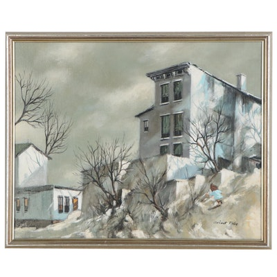 Robert Fabe Oil Painting of Neighborhood, Late 20th Century