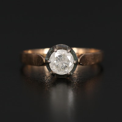 Vintage Polish 14K 0.77 CT Diamond Solitaire Ring with Sterling Prongs