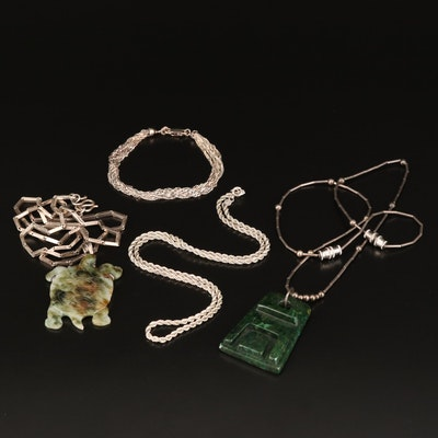 Sterling Silver Carved Jadeite and Serpentine Pendant Necklaces with Bracelet