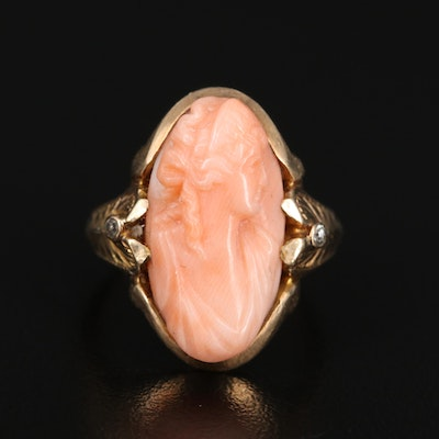 Art Nouveau 10K Coral Cameo Ring with Diamond Accents