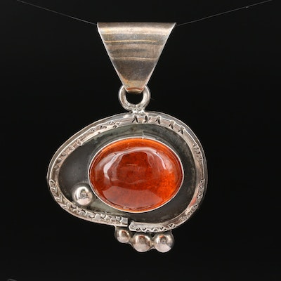 Sterling Siler Coral Oval Pendant