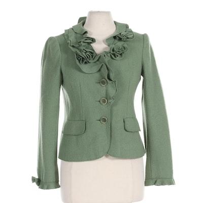 Moschino Cheap and Chic Green Wool Ruffled Jacket
