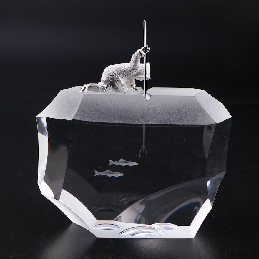 "James Houston for Steuben ""Arctic Fisherman"" Art Glass and Sterling Figurine"